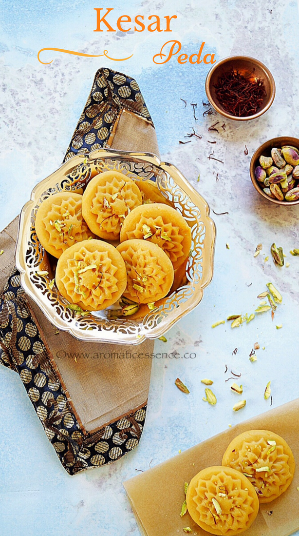 Kesar peda (Saffron infused Indian milk fudge)